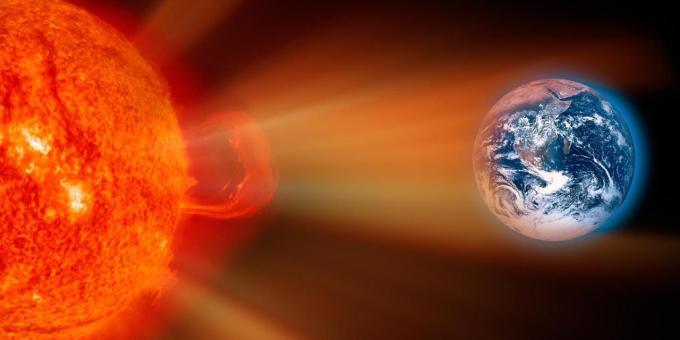 güneş ışınları dünyaya vururken